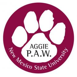 paw print outline with Aggie PAW in the Middle and New Mexico State University along the outside circle